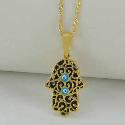 Small Hand with 2 Small blue eyes/black pattern Pendent with chain
