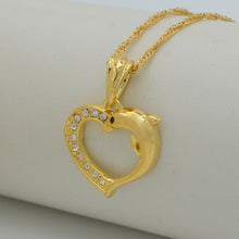 Load image into Gallery viewer, Heart Dolphin Necklace Pendants for Women Gold Color