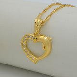 Heart Dolphin Necklace Pendants for Women Gold Color