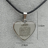 Arabic Ayat al Kursi Prayer,Holy Quran Verse Quranic stainless steel heart shaped with top chain