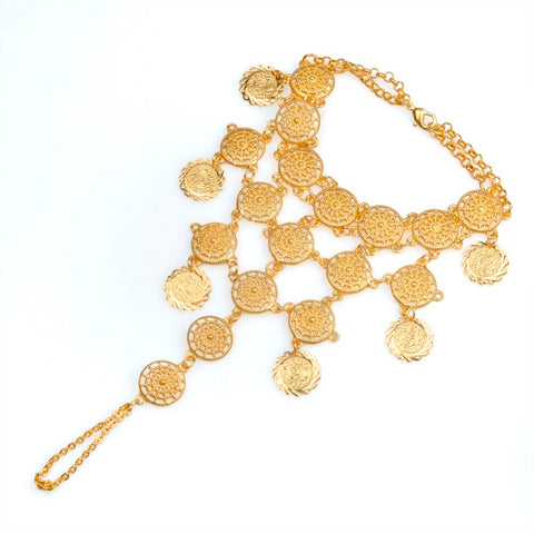 Coin Bracelet, Covers hand. Gold color