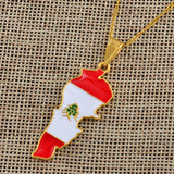 Lebanon Map and Color Flag Pendant Necklaces