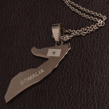 Somalia Map & Flag Necklaces stainless steel with chain