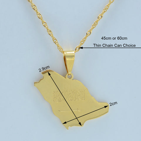 Saudi Arabia Map Flag Gold Color Charm Pendant Necklace with chain
