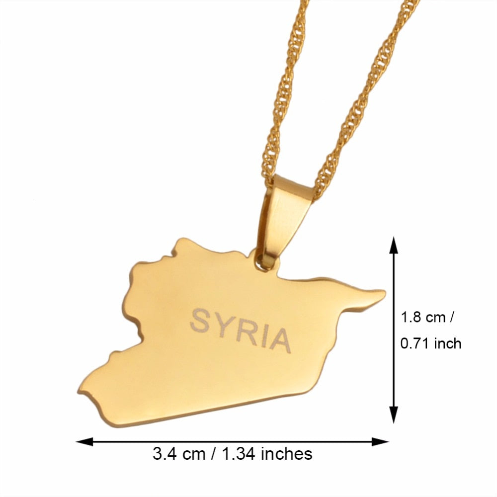 Syria Map Necklaces Gold Color pendent with chain
