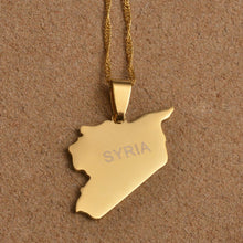 Load image into Gallery viewer, Syria Map Necklaces Gold Color pendent with chain