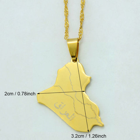 Iraq Map Pendant Necklace Gold Color with chain