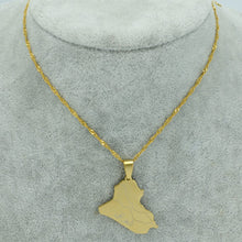 Load image into Gallery viewer, Iraq Map Pendant Necklace Gold Color with chain