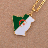 Algeria Map & Flag Necklace Pendant with Chain