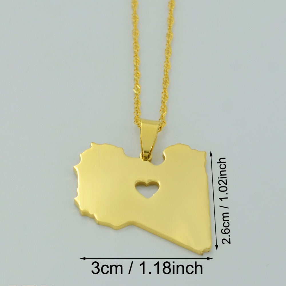 Libya Map with Heart Pendant - Gold Color Jewelry Necklace for Women