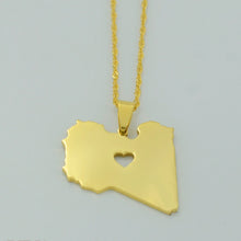 Load image into Gallery viewer, Libya Map with Heart Pendant - Gold Color Jewelry Necklace for Women