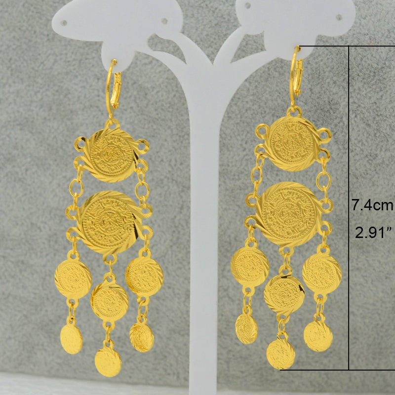 Coin Gold Color Earring Trendy Style - Suitable Gift for Woman & Girls