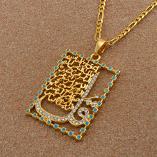 Load image into Gallery viewer, sura al nas pendant with chain gold color