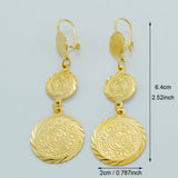 3 Coin Earrings for Women Gold Color