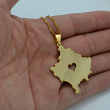 Load image into Gallery viewer, Kosovo Map Necklace Gold Color with heart