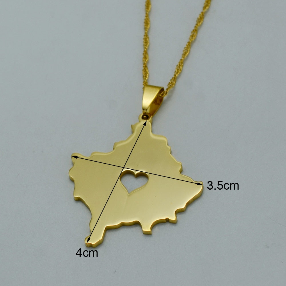 Kosovo Map Necklace Gold Color with heart