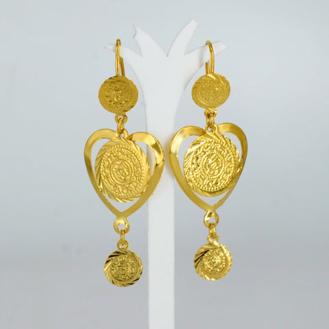 Heart shaped coin earrings, small size for Women/girls