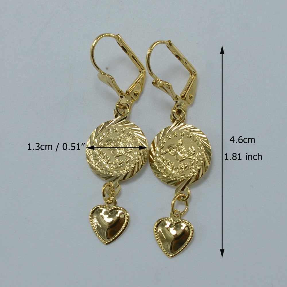 Trendy Style Heart Coin Earrings - Gold Color Stud for Women and Girls