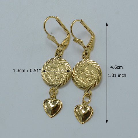 Heart Coin Earrings Women Girls or women