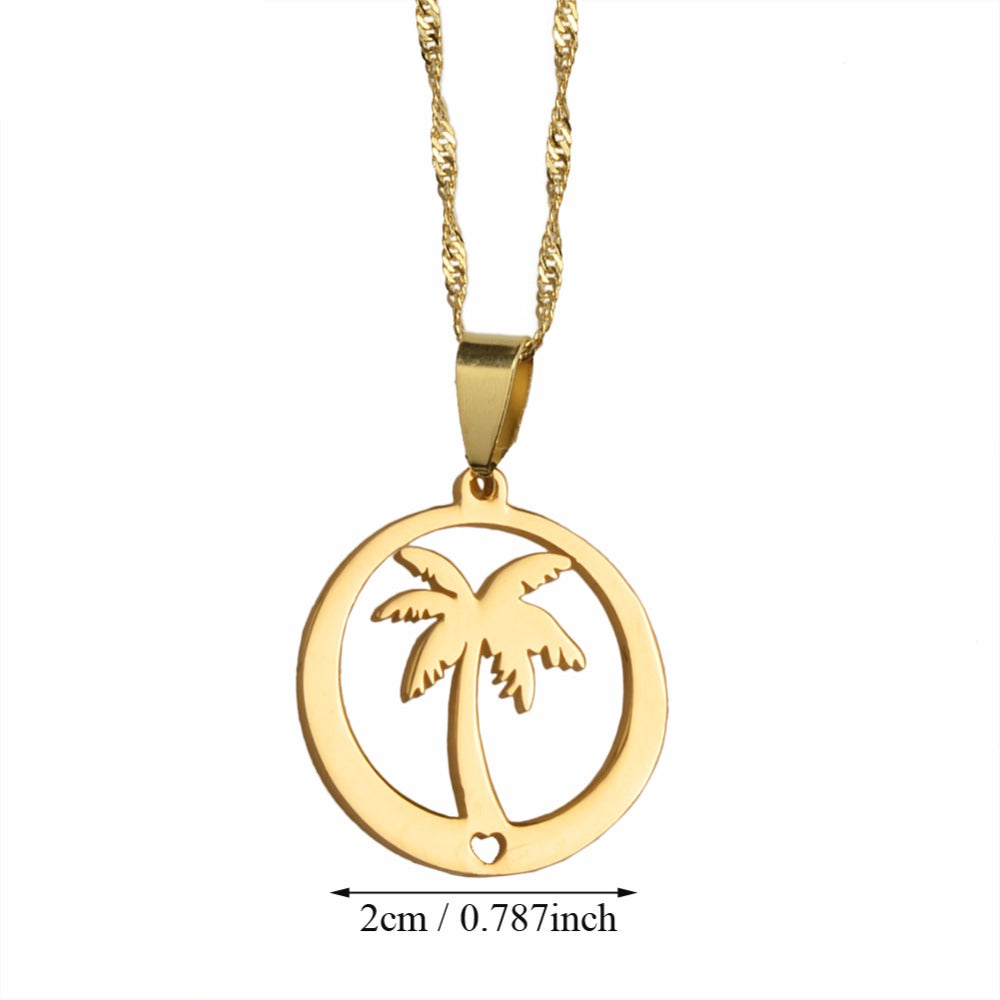 Coconut Tree Pendant Necklaces