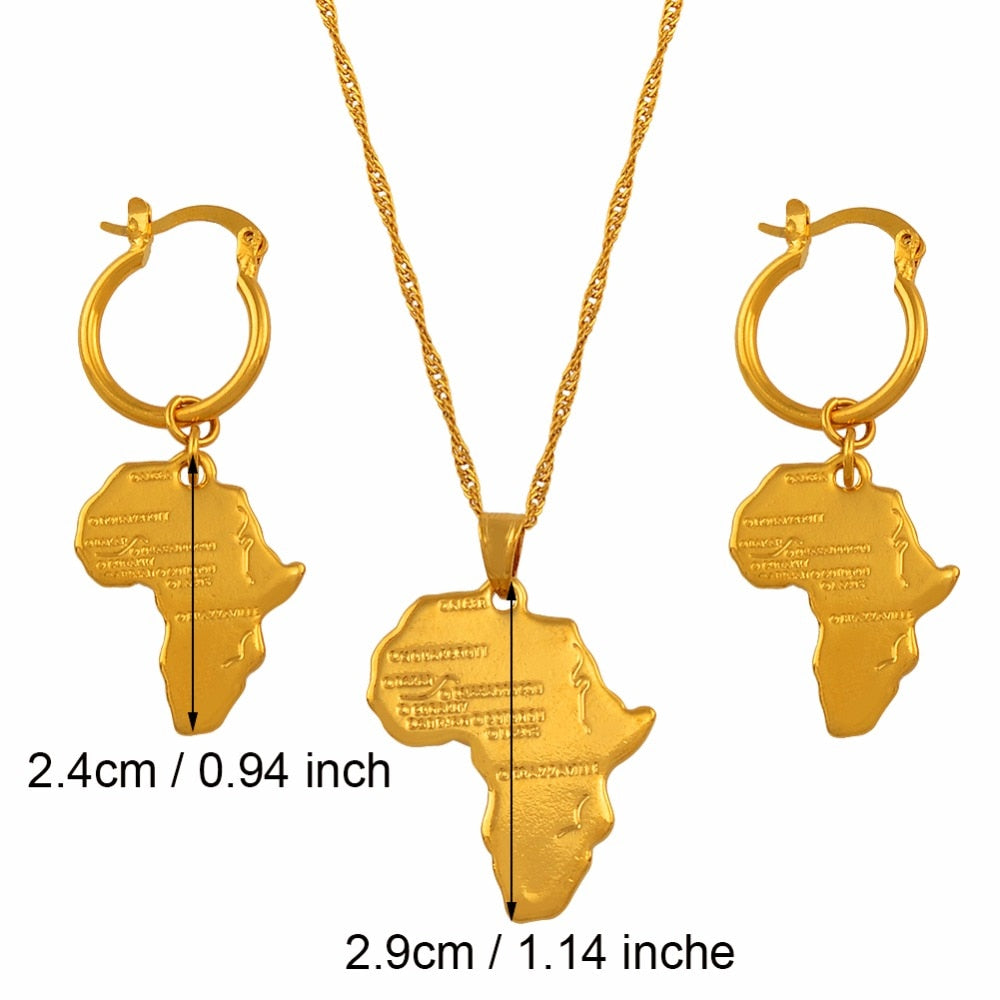 African Map Jewelry sets Necklace with Earrings
