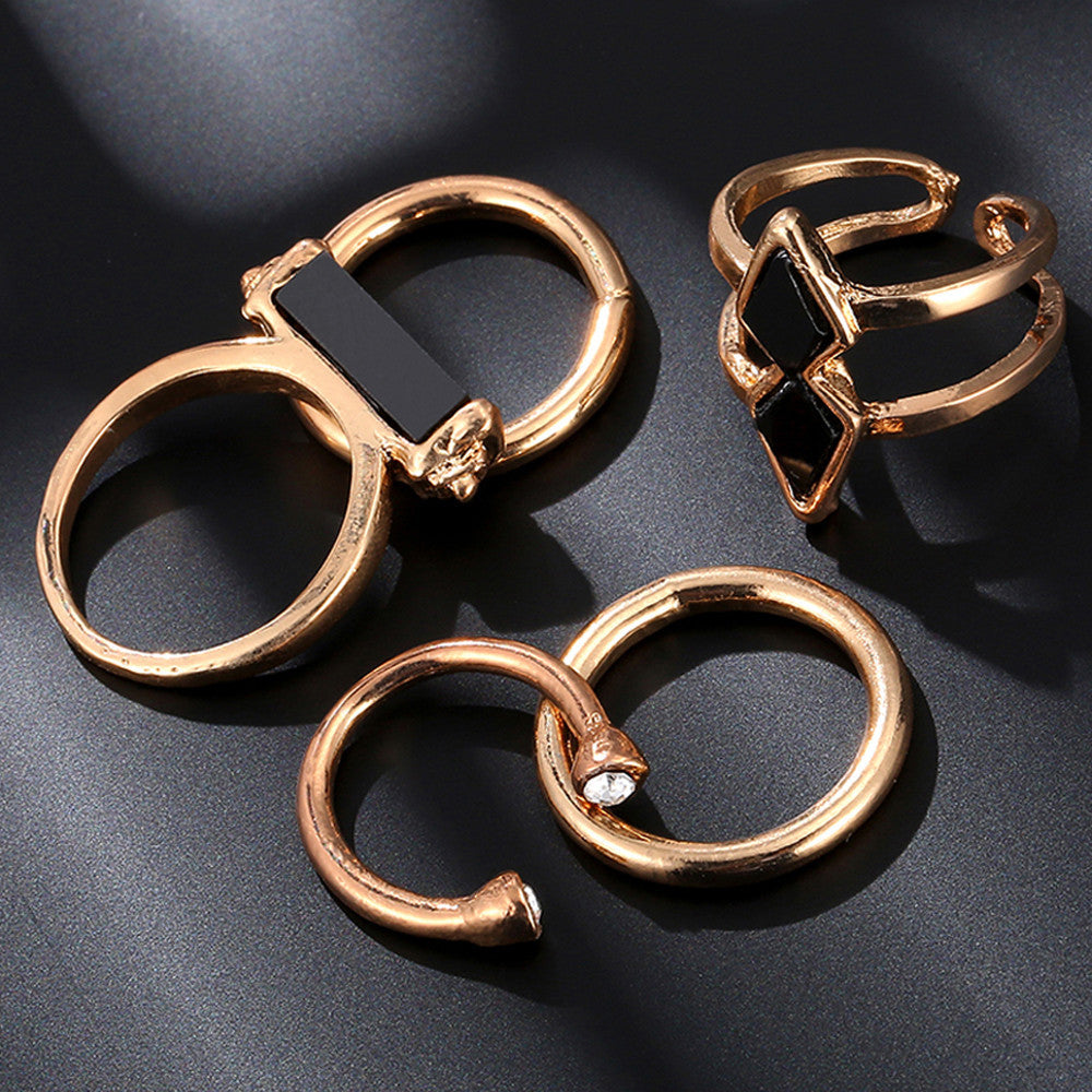 Punk Gold Stone Rings (5 Pcs)