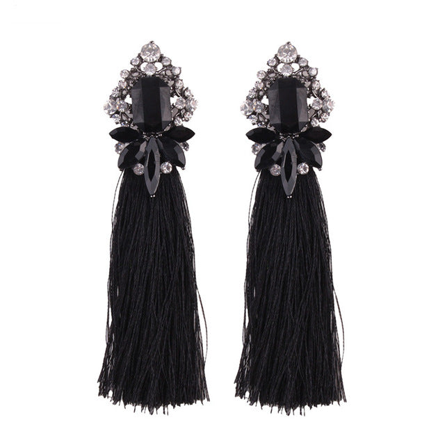 Long Jewel Tassel Earrings
