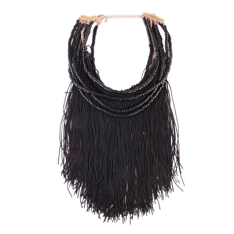 Long Beads Tassel Necklace