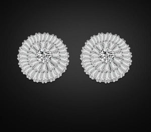 ZAKOL Silver Charms Round Stud Earring With Exquisite Tectangle Cubic Zircon Earring For Bridesmaid Jewelry FSEP232