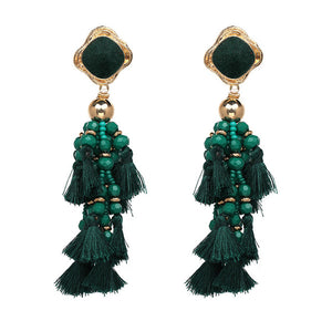 Bohemia Bead Tassel Statement Earrings