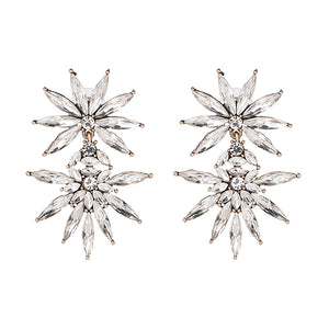 Silver Crystal Two Layer Flower Dangles Earrings