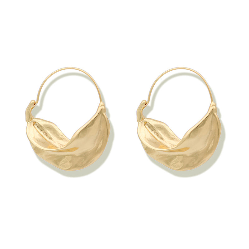 Irregular Leaf Hoop Earrings