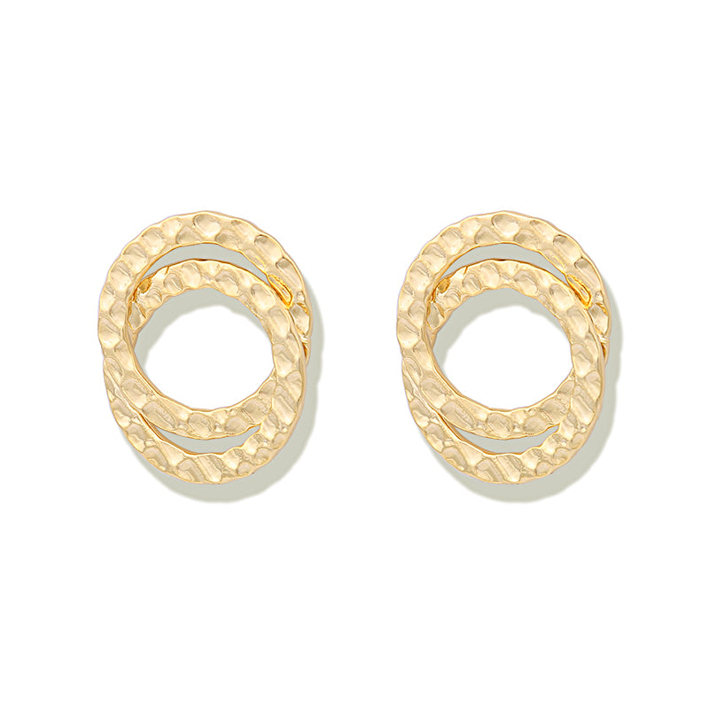 Big Double Circle Big Stud Earrings