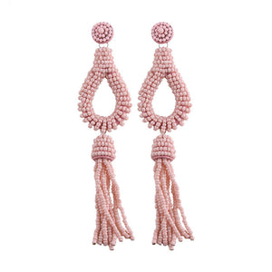 Beads Tassel Statement Earrings