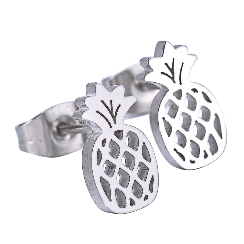 Hollow Pineapple Charm Earrings