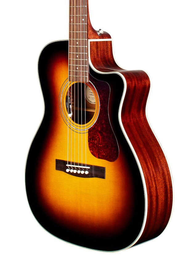 Guild OM140CE Orchestra Model Acoustic Guitar (Antique Sunburst, Cutaway and Pickup)