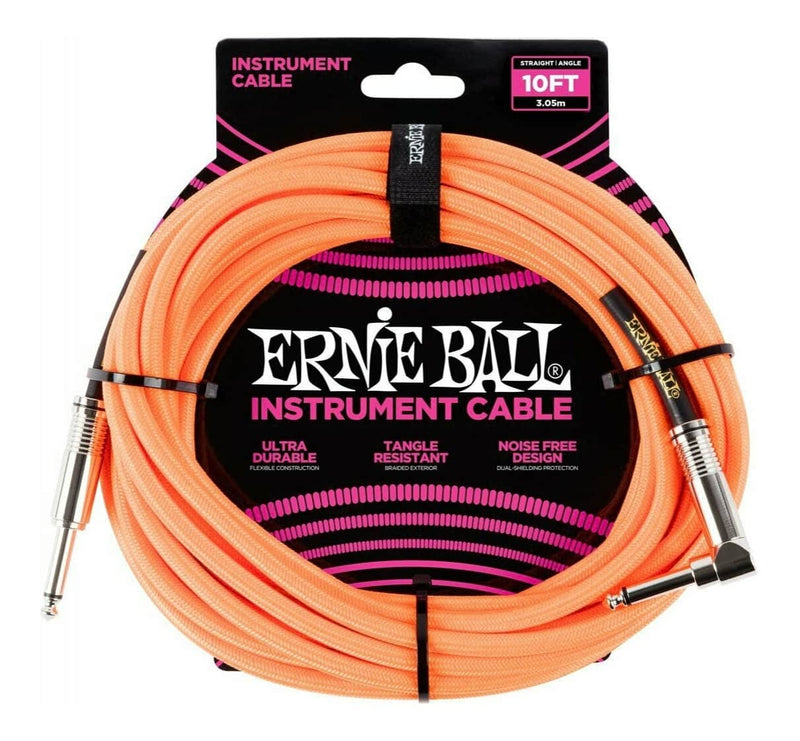 Ernie Ball 10ft Braided Straight Angle Instrument Cable (Various)