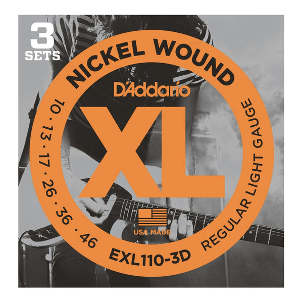 D'Addario XL Nickel Wound Electric Guitar Strings - 3 Pack