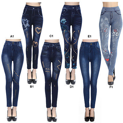Fashion Women Ladies High Waist Skinny Denim Pants Jeggings Stretchy Slim Jeans Pencil Trousers