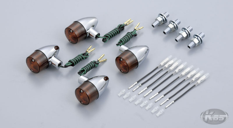 Posh Bullet Indicator 4pc Set - Chrome with Amber Lens