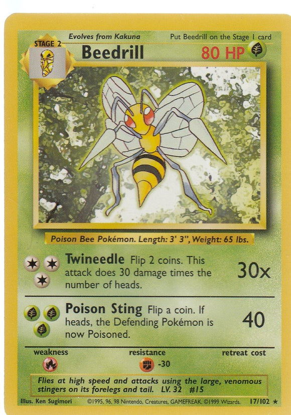 Beedrill 17/102 Base Set Unlimited Rare
