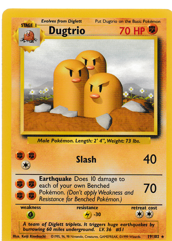Dugtrio 19/102 Base Set Unlimited Rare
