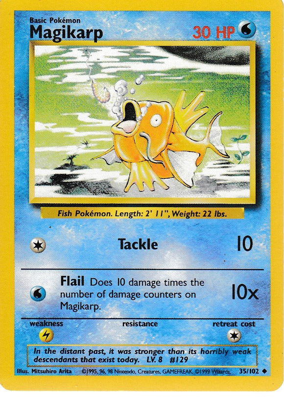 Magikarp 35/102 Base Set Unlimited Uncommon