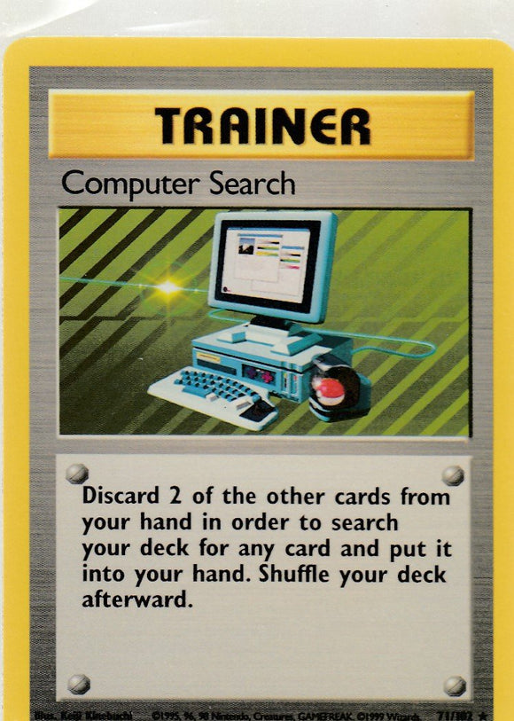 Computer Search 71/102 Base Set Unlimited Rare