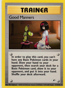 Good Manners 111/132 Gym Heroes Set Uncommon