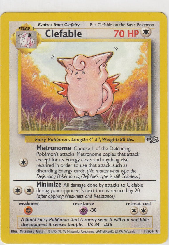 Clefable 17/64  Jungle Set Unlimited Rare