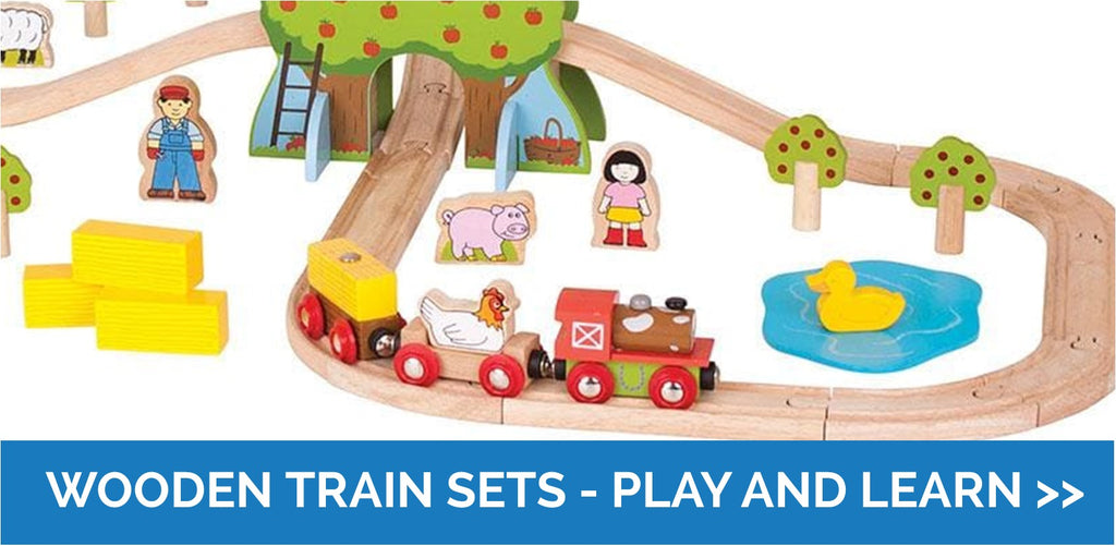Wooden train sets - play and learn