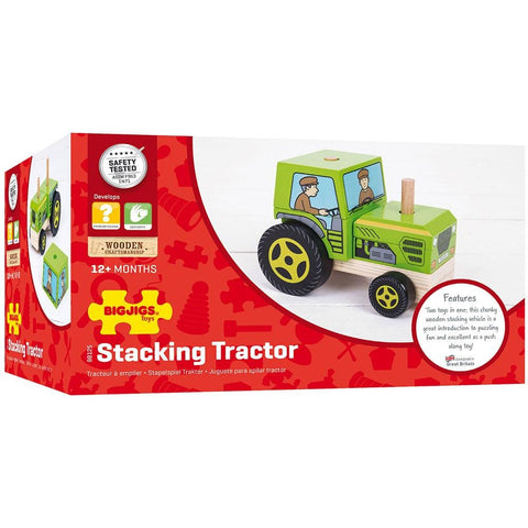 Image of Bigjigs Wooden Stacking Tractor - Toys 691621531259