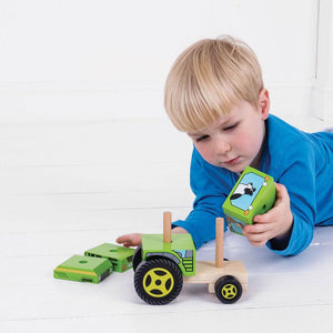 Bigjigs Wooden Stacking Tractor - Toys 691621531259