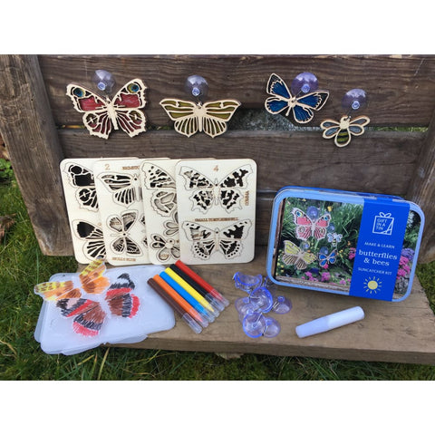 Image of Butterflies & Bees Suncatcher Kit Gifts in a Tin - Apples to Pears 5050588010064